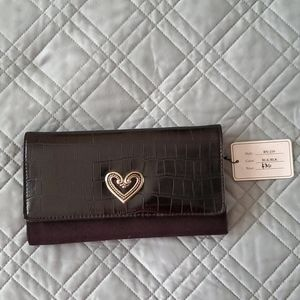 Black Wallet - Faux Embossed Leather/Suede